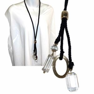 Chico's Black Satin Rope Long Necklace Gold